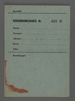 1995.89.617 front Employment card issued in the Kovno ghetto  Click to enlarge