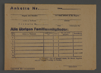 1995.89.621 front Registration form issued to work brigade members in the Kovno ghetto for identification of their relatives  Click to enlarge
