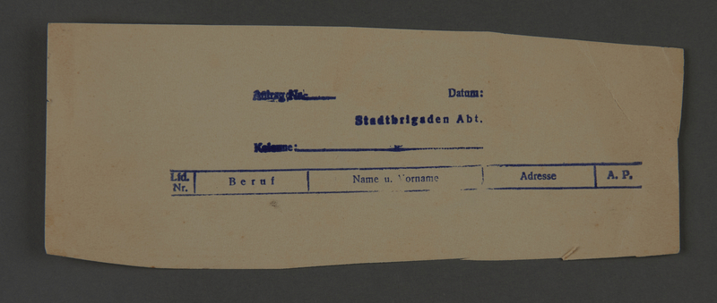 1995.89.623 front Permit issued by the administration of the Kovno ghetto