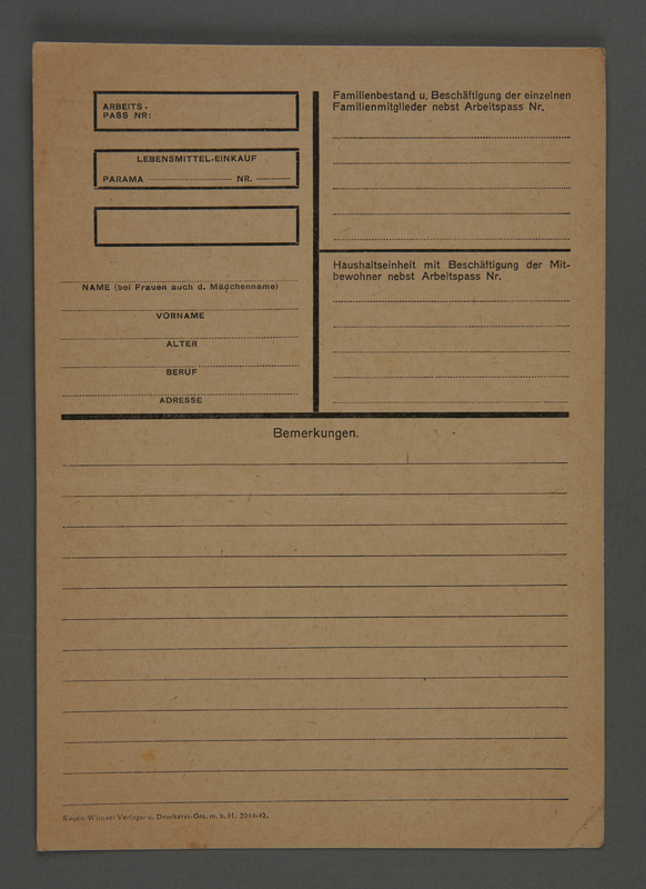 1995.89.628 front Form from the Kovno ghetto inquiring about food provisions and household employment
