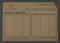 1995.89.629 front Kovno ghetto workshops attendance report form for missing workers  Click to enlarge