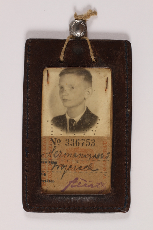 2014.450.2 front Public transport pass and identification tag issued to a Roman Catholic Polish youth