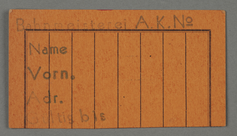 1995.89.63 front Work assignment slip for the railway issued in the Kovno ghetto