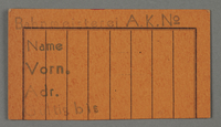 1995.89.63 front Work assignment slip for the railway issued in the Kovno ghetto  Click to enlarge