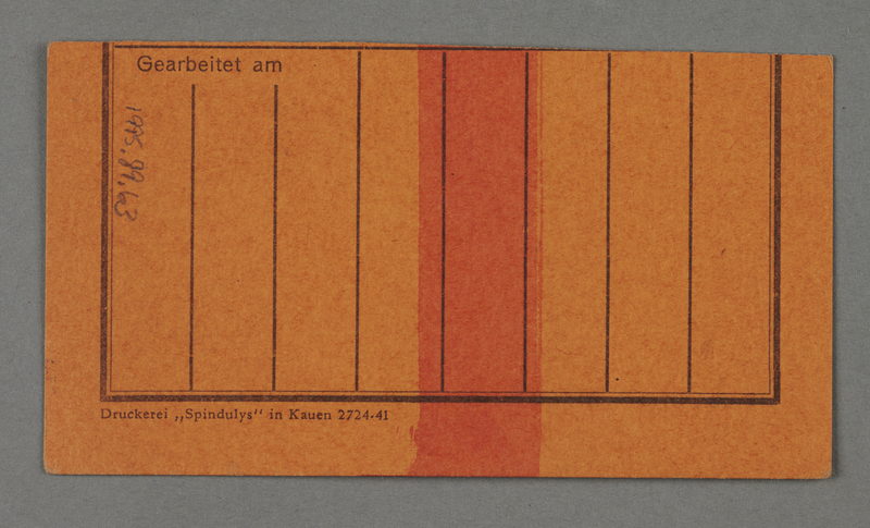 1995.89.63 back Work assignment slip for the railway issued in the Kovno ghetto
