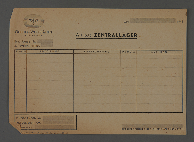 1995.89.632 front Kovno ghetto workshops report form