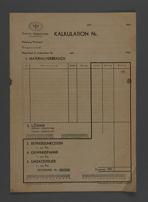 1995.89.637 front Invoice for Kovno ghetto workshops
