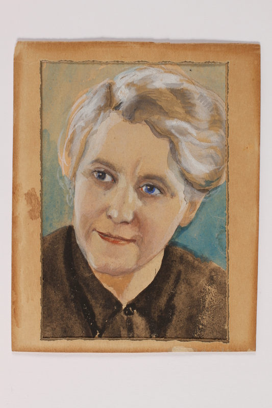 2014.451.2 a front Watercolor portrait with frame of a Polish resistance member recovered by her family