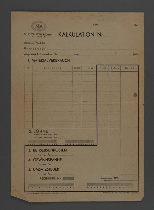 1995.89.638 front Invoice for Kovno ghetto workshops