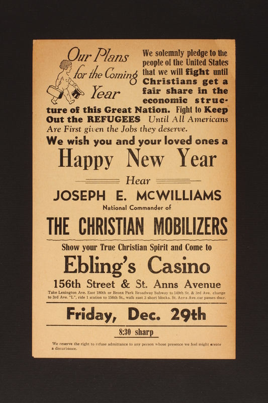 2014.456.3 front Hear Joseph E. McWilliams, National Commander of the Christian Mobilizers