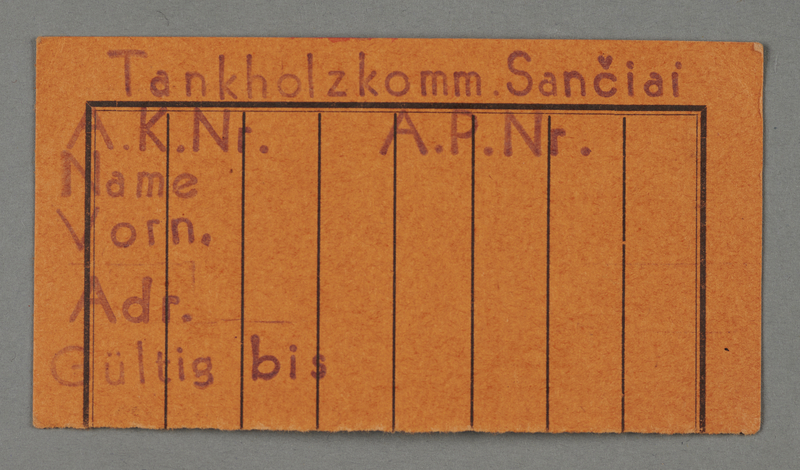 1995.89.64 front Work assignment slip issued in the Kovno ghetto