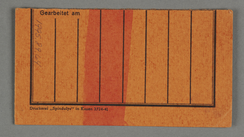 1995.89.64 back Work assignment slip issued in the Kovno ghetto