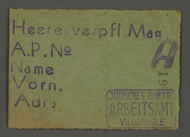 1995.89.646 front Work assignment slip from the Kovno ghetto