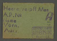 1995.89.646 front Work assignment slip from the Kovno ghetto  Click to enlarge