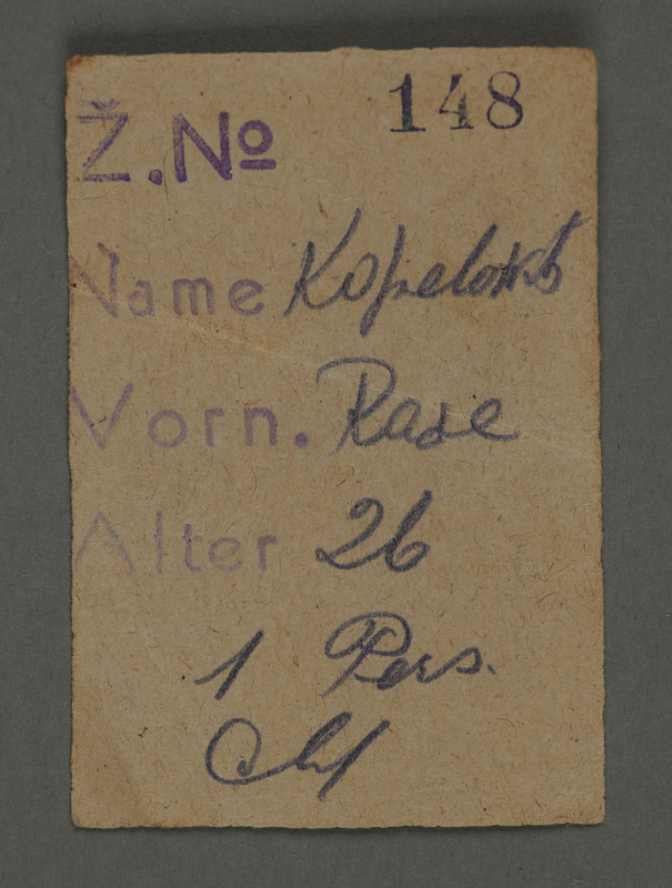 1995.89.647 front Identification document issued in the Kovno ghetto