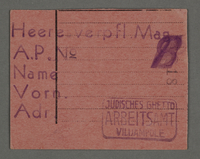 1995.89.648 front Work assignment slip from the Kovno ghetto  Click to enlarge