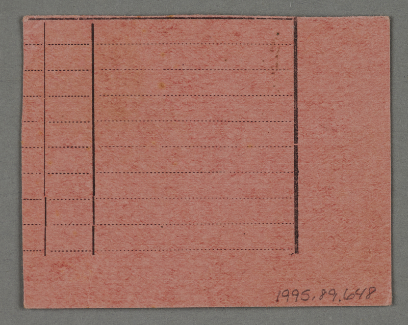 1995.89.648 front Work assignment slip from the Kovno ghetto