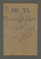 1995.89.649 front Work assignment slip from the Kovno ghetto  Click to enlarge