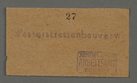 1995.89.65 front Work assignment slip for waterway construction in the Kovno ghetto  Click to enlarge
