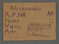 1995.89.650 front Work assignment slip from the Kovno ghetto  Click to enlarge