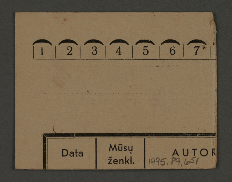 1995.89.651 back Work assignment slip from the Kovno ghetto