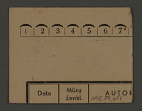 1995.89.651 back Work assignment slip from the Kovno ghetto  Click to enlarge