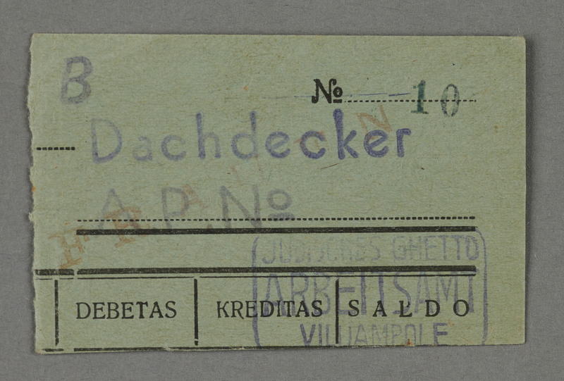 1995.89.652 front Work assignment slip from the Kovno ghetto