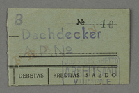 1995.89.652 front Work assignment slip from the Kovno ghetto  Click to enlarge