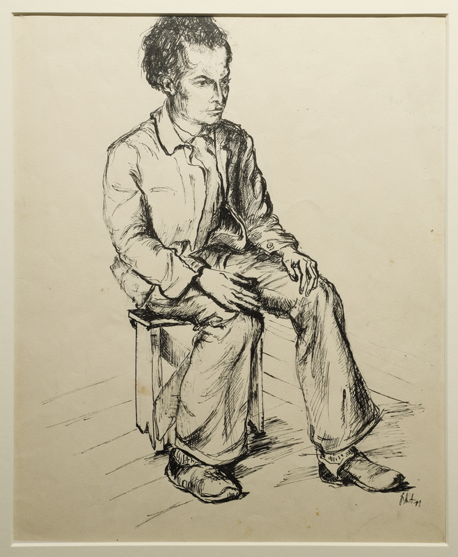 1988.1.4 front Portrait of a young adult male seated on a stool, drawn by a German Jewish internee