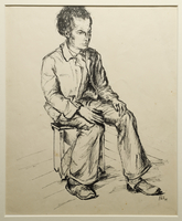 1988.1.4 front Portrait of a young adult male seated on a stool, drawn by a German Jewish internee  Click to enlarge