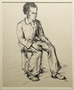 Portrait of a young adult male seated on a stool, drawn by a German Jewish internee