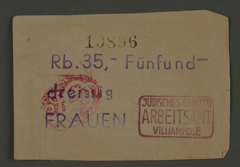 1995.89.654 front Scrip issued to female workers in the Kovno ghetto