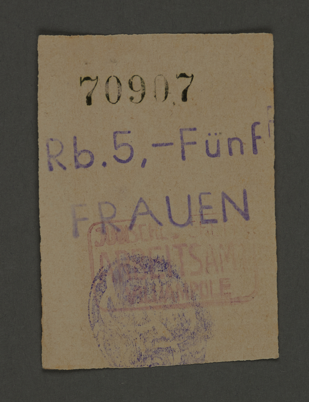 1995.89.656 front Scrip issued to female workers in the Kovno ghetto