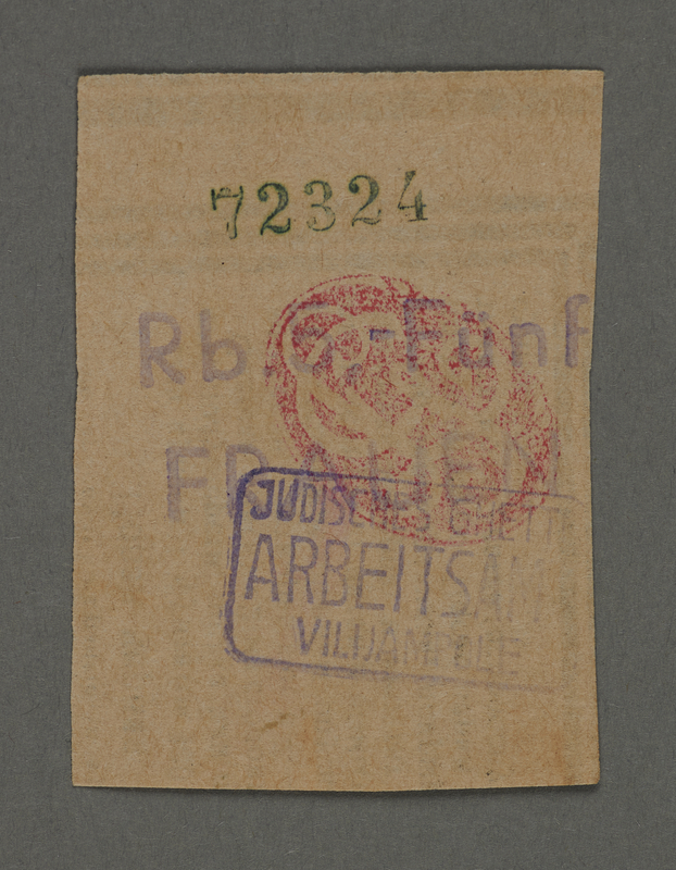1995.89.659 front Scrip issued to female workers in the Kovno ghetto