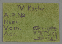 1995.89.66 front Work assignment slip for kitchen labor in the Kovno ghetto  Click to enlarge