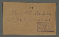 1995.89.661 front Work assignment slip from the Kovno ghetto  Click to enlarge