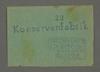 1995.89.662 front Work assignment slip from the Kovno ghetto  Click to enlarge