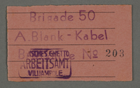 1995.89.663 front Work assignment slip from the Kovno ghetto  Click to enlarge