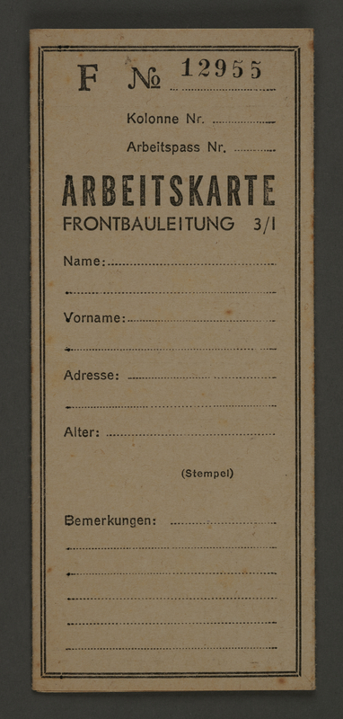1995.89.666 front Unused work card from the Kovno ghetto