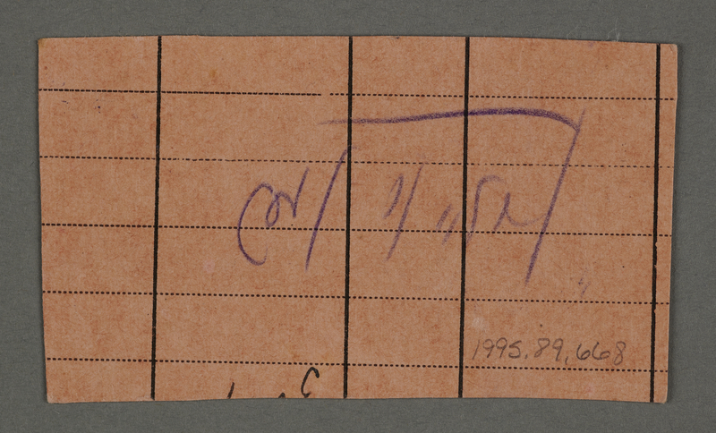1995.89.668 back Work assignment slip from the Kovno ghetto
