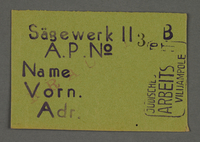1995.89.669 front Work assignment slip from the Kovno ghetto  Click to enlarge