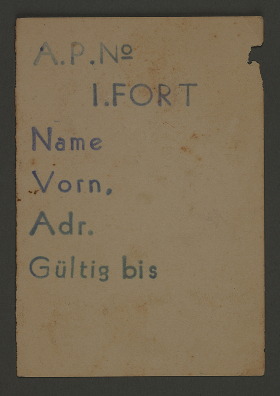 1995.89.67 front Work assignment slip for work in the first Fort in Kovno