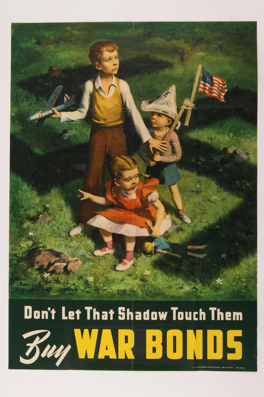 2015.262.1 front US War Bonds poster of three small children under the shadow of a swastika