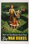 US War Bonds poster of three small children under the shadow of a swastika