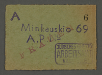 1995.89.673 front Work assignment slip from the Kovno ghetto  Click to enlarge