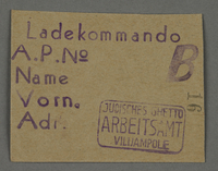 1995.89.675 front Work assignment slip from the Kovno ghetto  Click to enlarge