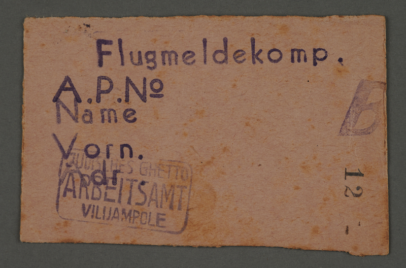 1995.89.676 front Work assignment slip from the Kovno ghetto