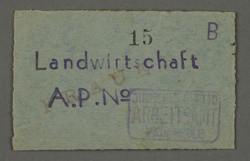 1995.89.677 front Work assignment slip from the Kovno ghetto