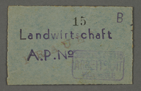 1995.89.677 front Work assignment slip from the Kovno ghetto  Click to enlarge