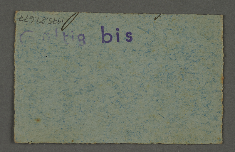 1995.89.677 back Work assignment slip from the Kovno ghetto